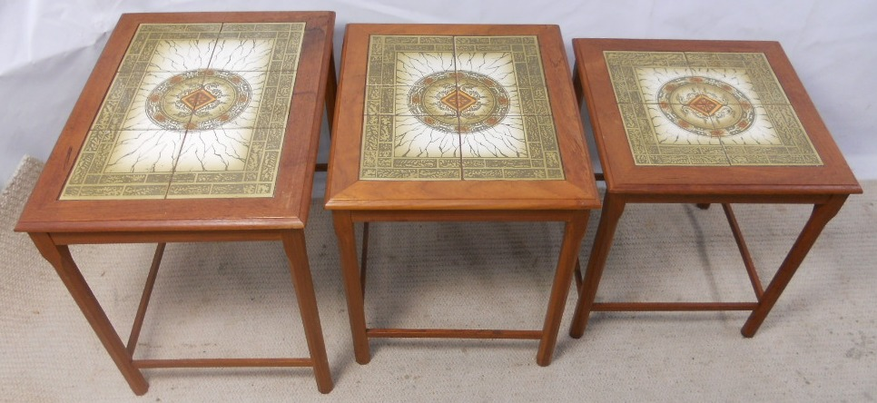 Tile Top Nest Of Three Danish Tables Sold
